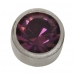 Stainless Steel 4mm Bezel Amethyst Crystal