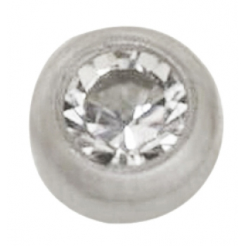 14KT White Gold 2mm Crystal Bezel