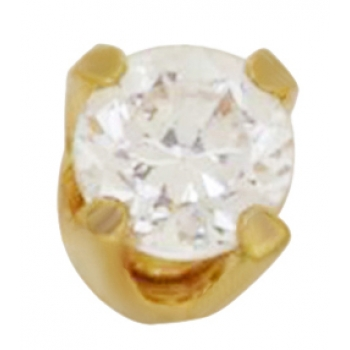 24KT Gold Plate 2mm 4-Prong CZ